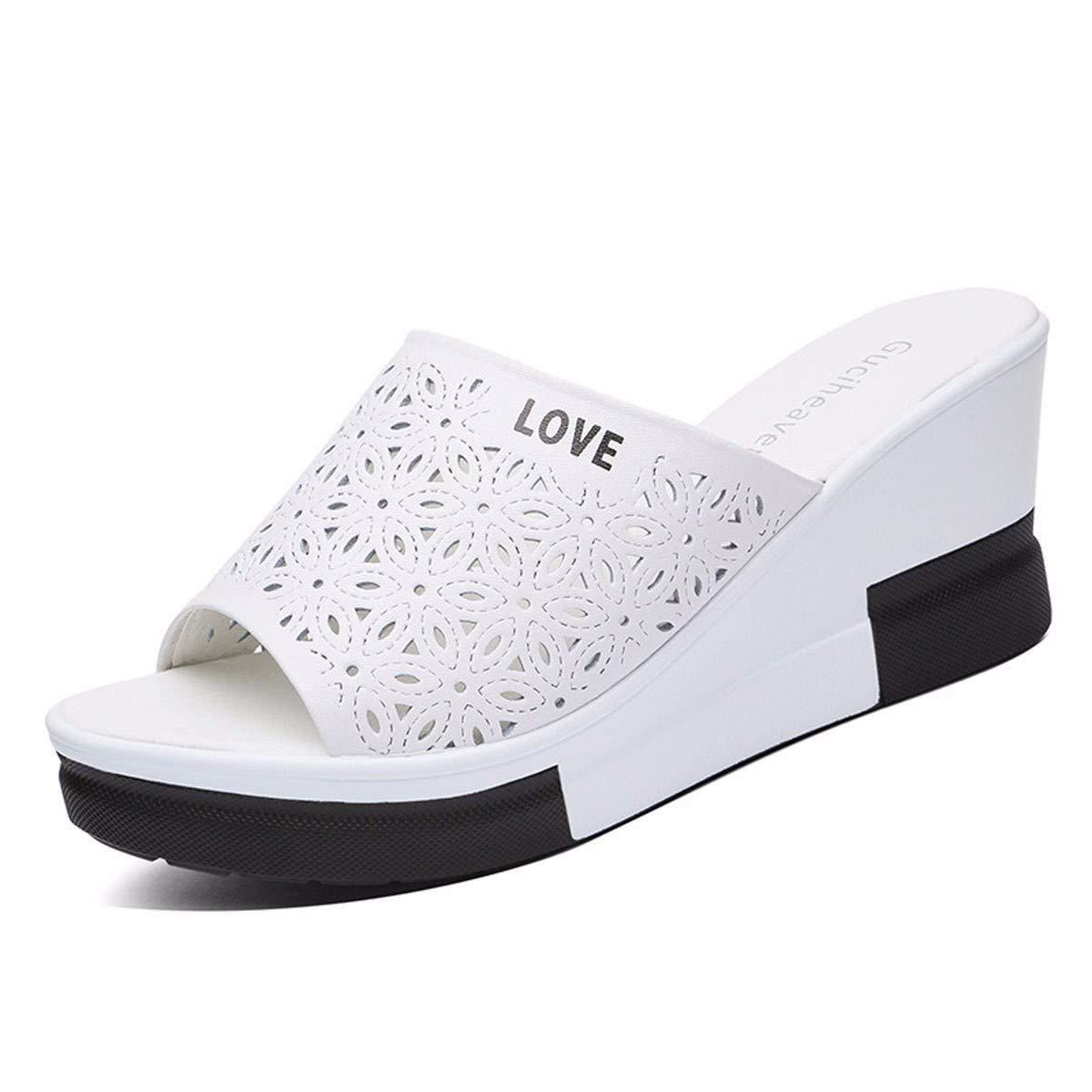 GTVERNH Frauen Schuhe Frauen - Pantoffeln Schrägen Heels Dicke Zusammenbrach Sommer Mode Verschleiß Leder Joker.