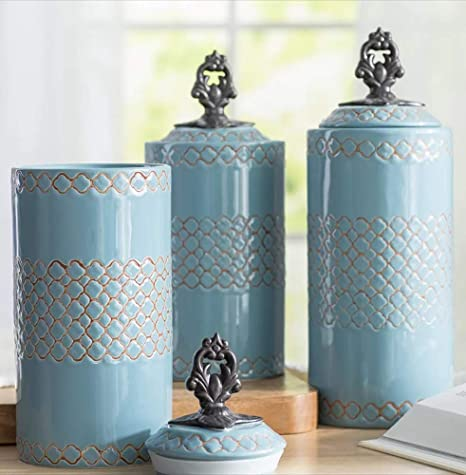 Ceramic Kitchen Canisters Set Of 3 Food Storage Jars With Air Tight Stainless Steel Lids For Kitchen Or Bathroom Turquoise Ceramic Canister Set