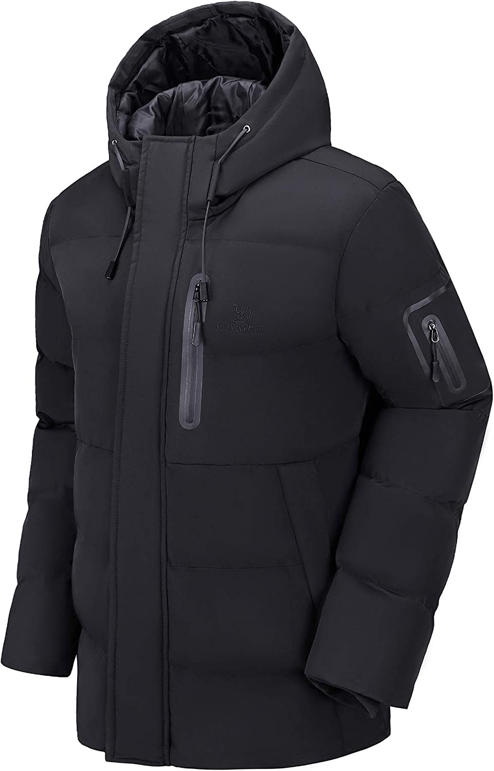 CAMEL Men Puffer Jacket with Hooded Parkas Thicken Padded Jacket Windproof Outdoor for Winter Coat: Clothing