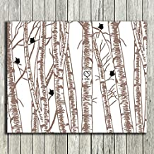 8x10 Unframed Print Personalized Gift For Ten Year Anniversary 10th Anniversary Birch Trees Taupe And Black Birds Custom Wedding Art