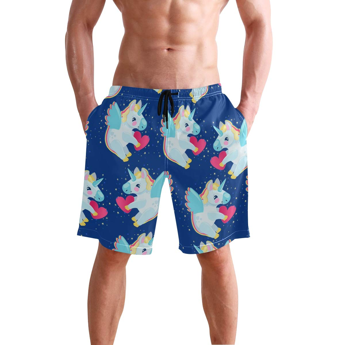 Mens Beach Swim Trunks Magic Unicorn Red Hearts Boxer Swimsuit Underwear Board Shorts with Pocket
