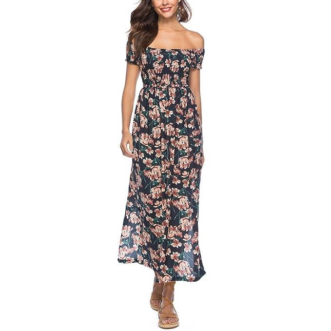 Spbamboo Women Daily Cold Off Shoulder Print High Line Short Sleeve Long Dress