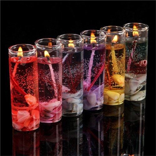 Miss.AJ 6 pcs Romantic Ocean Shells Jelly Essential Oil Scented Candles Aromatherapy Smokeless Candles Wedding Candles Color Random - Ocean Scented Shells Candle
