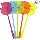 Dirza Fly Swatter Manual Swat Pest Control - Long Handle - More thicker Weight up to 1.09 OZs/One -Durable - Colorful Pack of 5