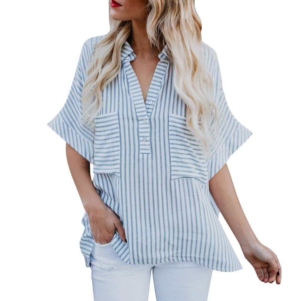 98df62e5bdde6 Fashion Womens Tops Striped Turn-Down Collar Short Sleeve Pockets Tee Shirt  Casual Blouse at Amazon Women s Clothing store