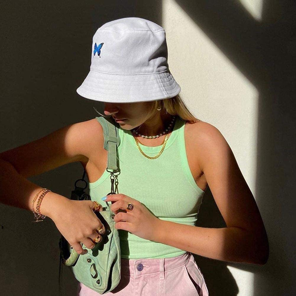 Butterfly Bucket Hat Unisex Embroidered Bob Cap Fisherman Cap Summer Outdoor Sport Sun Hat for Women Girls Men Boys