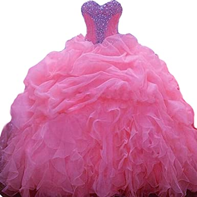 3a3aac7ae Siaoryne 15 Years Party Sweetheart Crystal Organza Ball Gown Quinceanera  Dresses at Amazon Women's Clothing store: