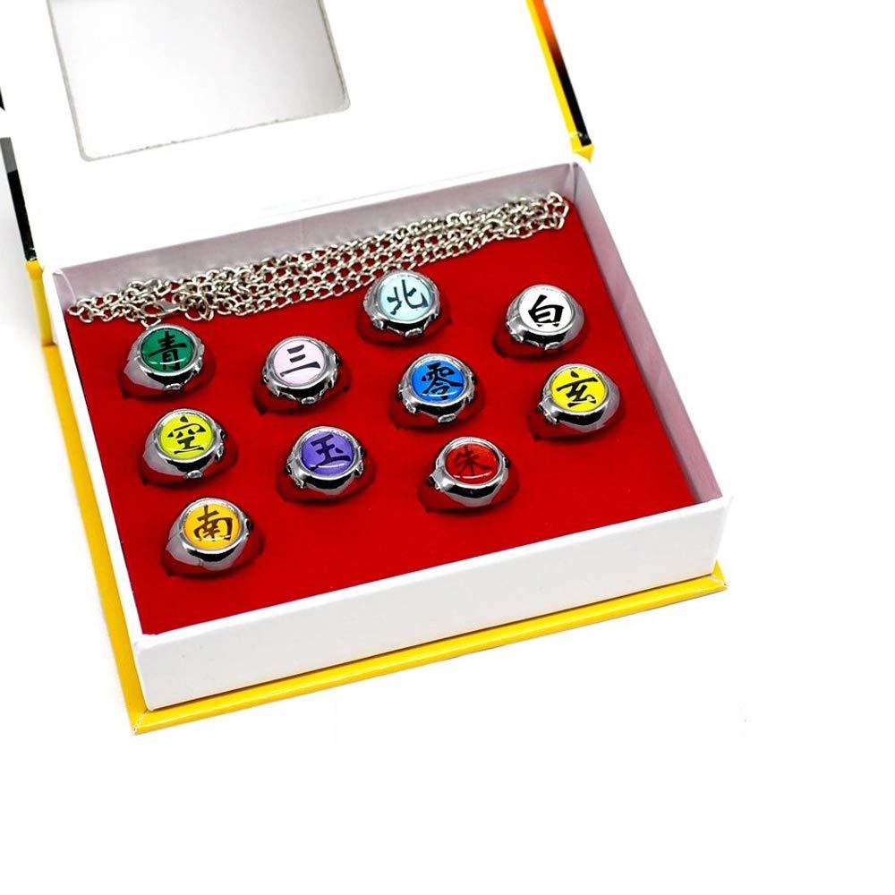 10 Pcs Naruto Rings Akatsuki Cosplay Member's Ring Set New In Box