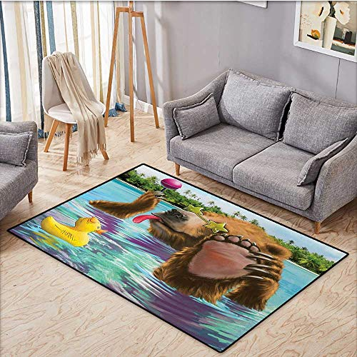 - Anhuthree Animal Door Mat Outside Happy Fancy Wild Bear in The Sea by The Beach with its Sunglasses Candies Print Bath Mats for Floors 32