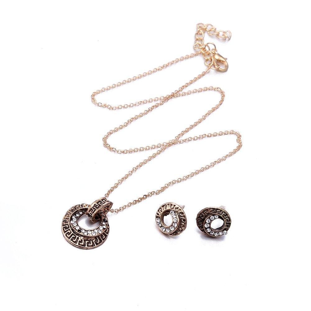 Collier et Boule d'oreille de femme en alliage avec breloque géométrique Bijoux ornant le corps fashionbeautybuy LKN01158