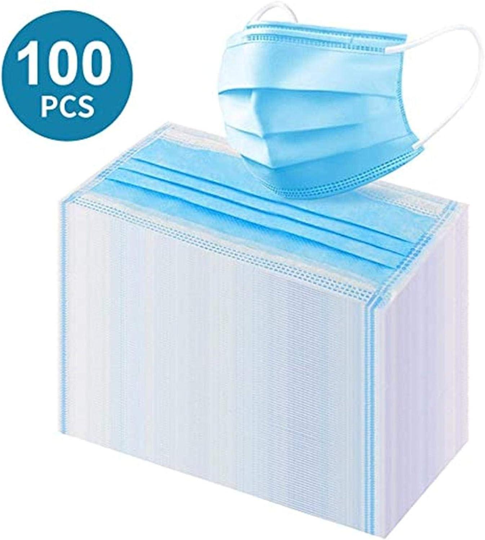 50-100PCS (black or blue) Disposable Face Masks, 3-ply Face Coverings £3.40 – £6.70 w/code B08M18ZQS7 @ Amazon