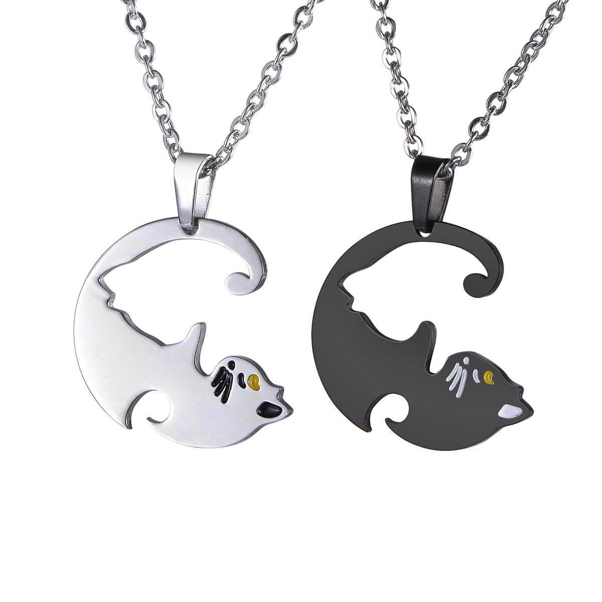 BY 2PCS Cat Pendant Engraved Best Friends Necklace Set Friendship Necklaces Gifts for Teen Girls BFF