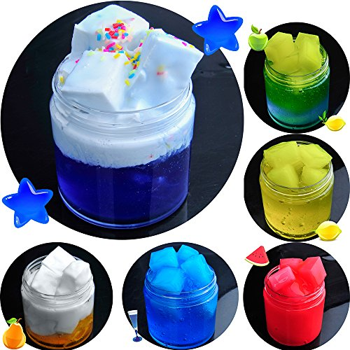 HSETIY Super Slime Kit Supplies-12 Crystal Clear Slimes 54 Packs Glitter Sheet Jars, 3 Jelly Cubes,4 Pcs Fruit Slices,16 pcs Animals Beads, Foam Balls,5 Slime Containers DIY Art Crafts by HSETIY (Image #4)