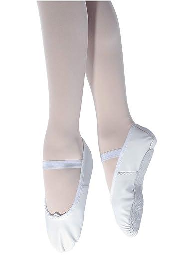 Zapatos de ballet de piel con suela completa,