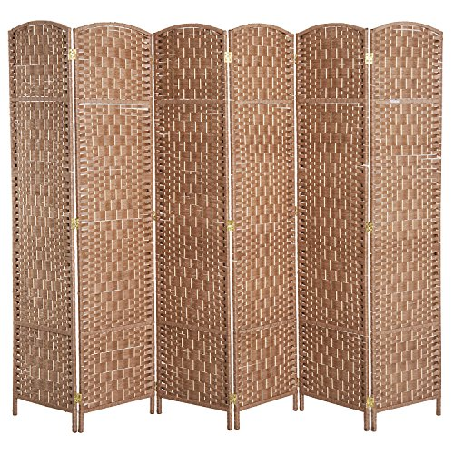 (HOMCOM 6' 6 Panel Wicker Weave Room Divider Privacy Screen - Natural Blonde Wood)