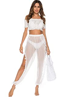 aa4c2be85 JOXJOZ Women's See Through Sheer Mesh Legging Hippie Boho Summer Beach  Pants Swimsuit Bikini Bottom Cover