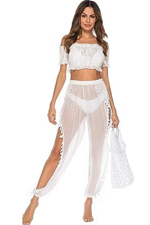 2fad514216 JOXJOZ Women's See Through Sheer Mesh Legging Hippie Boho Summer Beach Pants  Swimsuit Bikini Bottom Cover up Outfits (White-A) at Amazon Women's  Clothing ...