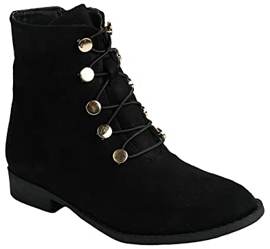 Women Faux Suede Elastic Lace-Up Side Zip Golden Grommets Flats Ankle Booties