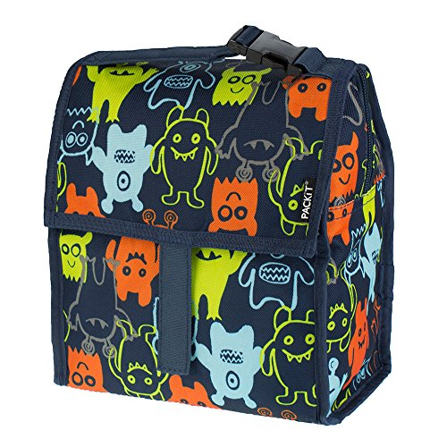 PackIt Freezable Lunch Bag with Zip Closure, Monsters 2.0
