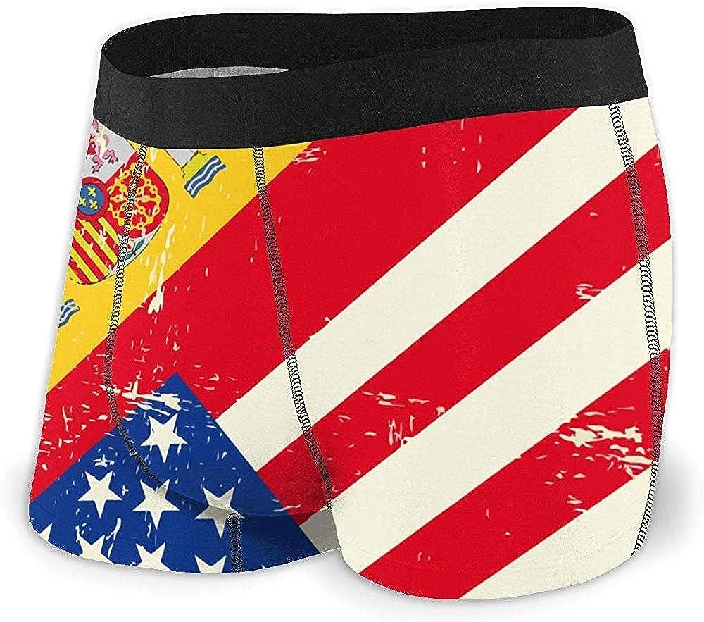 Web--ster Estados Unidos América España Bandera Hombres Regular Leg Boxer Breve Ropa Interior Ride-Up Bragas: Amazon.es: Ropa y accesorios