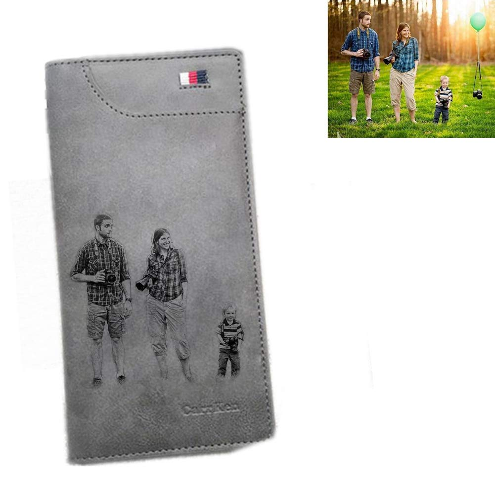 Mens Short Folding Durable Wallet Photo Custom Wallet Fathers Day Wallet