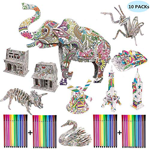 HYH Arts and Crafts for Girls 3D Art Coloring Painting Animals and Buildings Puzzle Set Fun Creative DIY Toys Family Craft Kits with Supplies Best Holiday Birthday Gifts for Girls,Kids (10 Pack)