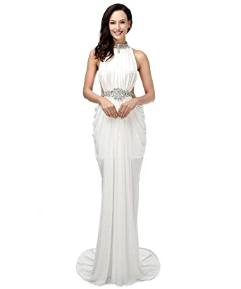 LiCheng Bridal Womens High Neck Rhinestone Mermaid Long Evening Prom Dresses White US2