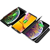Qi Triple Wireless Charger Station,JE 3 Devices Multi Wireless Charger Pad,Desktop Charging Station iPhone Xs MAX/XR/XS/X/8/8 Plus,Samsung Galaxy S8+ S7/S7 Edge Note 8/5, Nexus 5/6/7& All QI-Enabl