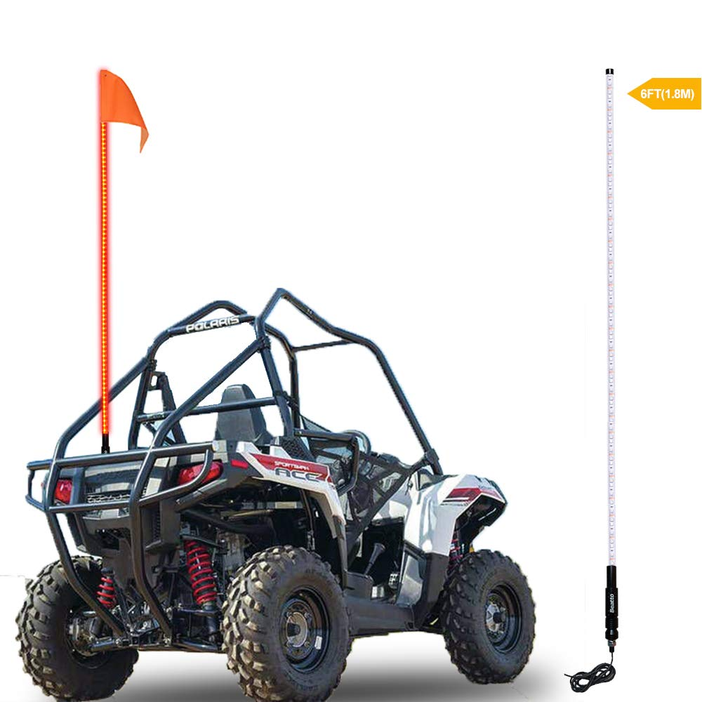 Beatto 6FT(1.8M) Red LED Whips Light LED Safety Flag Whips Light LED Antenna Light For Off- Road Vehicle ATV UTV RZR Jeep Trucks Dunes by Beatto