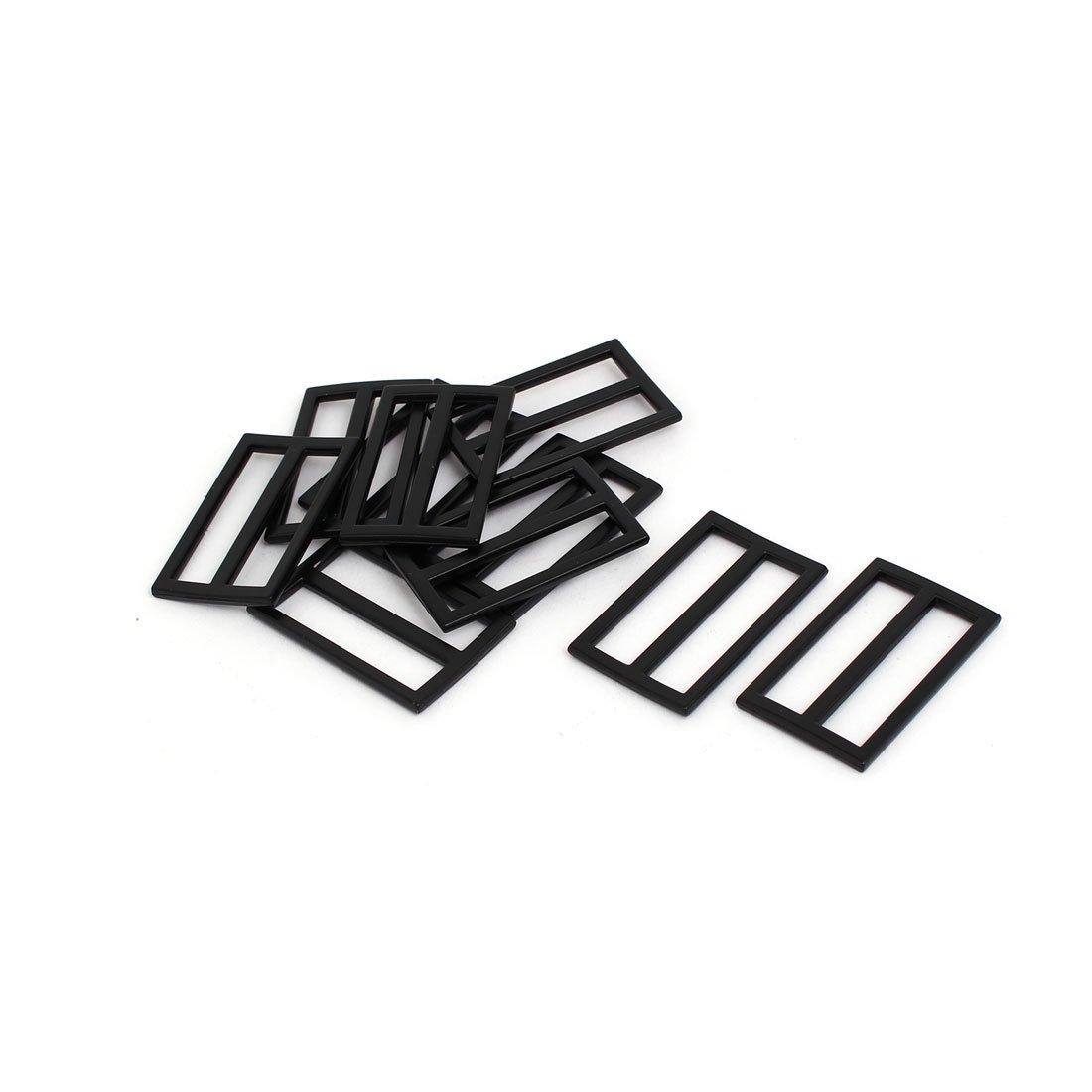 sourcing map 45mmx27mmx3mm Cinturino montabile regolabile Slitta Chiusura valigia/Borsa nera 10pz