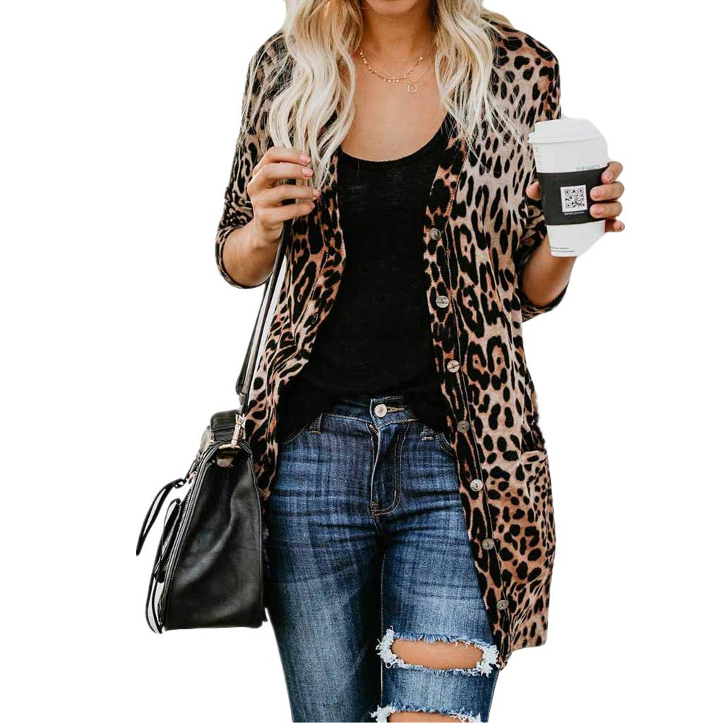 Staron  Womens Leopard Cardigans Sweater Long Sleeve Open Front Blouse Maxi Coats Staron ®