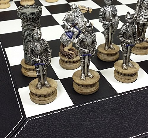 HPL Medieval Times Crusades Warrior Knights Gold & Silver Chess Set W/ 18