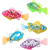 Lalang Baby Bathtime Ducks Toys Bath Tub Toys Set Flashing Light Bath Toys Waterproof Night Light Ducks (1pcs swiming fish)