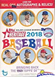#6: 2018 Topps Heritage MLB Baseball EXCLUSIVE Factory Sealed Retail Box with 8 Packs & 72 Cards! Look for Real One Autographs, Inserts, Parallels, Relics & More! Look for SHOHEI OTHANI Rookie's & Auto's!