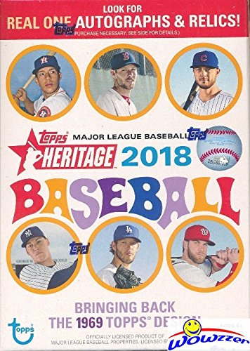- 2018 Topps Heritage MLB Baseball EXCLUSIVE Factory Sealed Retail Box with 8 Packs & 72 Cards! Look for Real One Autographs, Inserts, Parallels, Relics & More! Look for SHOHEI OTHANI Rookie's & Auto's!
