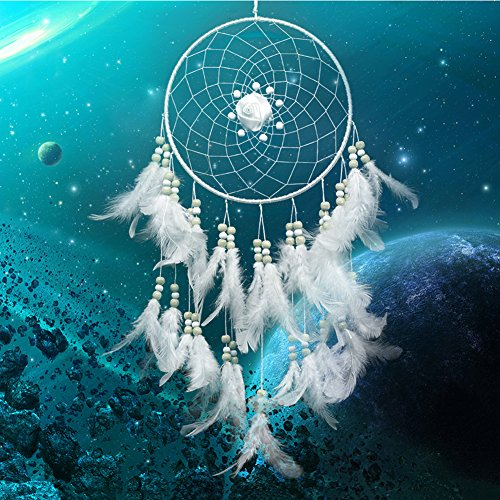 Mikolot White Rose Dream Catcher Feathers Wall Hanging Home Car Decor Ornament