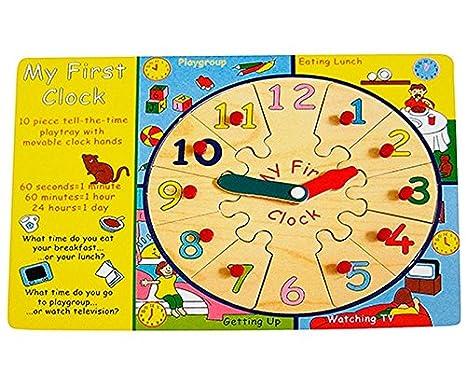 Puzzle De Madera J Apprends La Hora En Inglés My First Clock