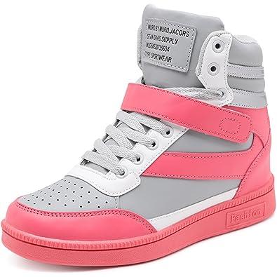 b0ab652cd79fe Solshine Damen Knöchel Stiefel mit innen Keilabsatz Klettverschluss  Sneaker-Wedges Stiefeletten