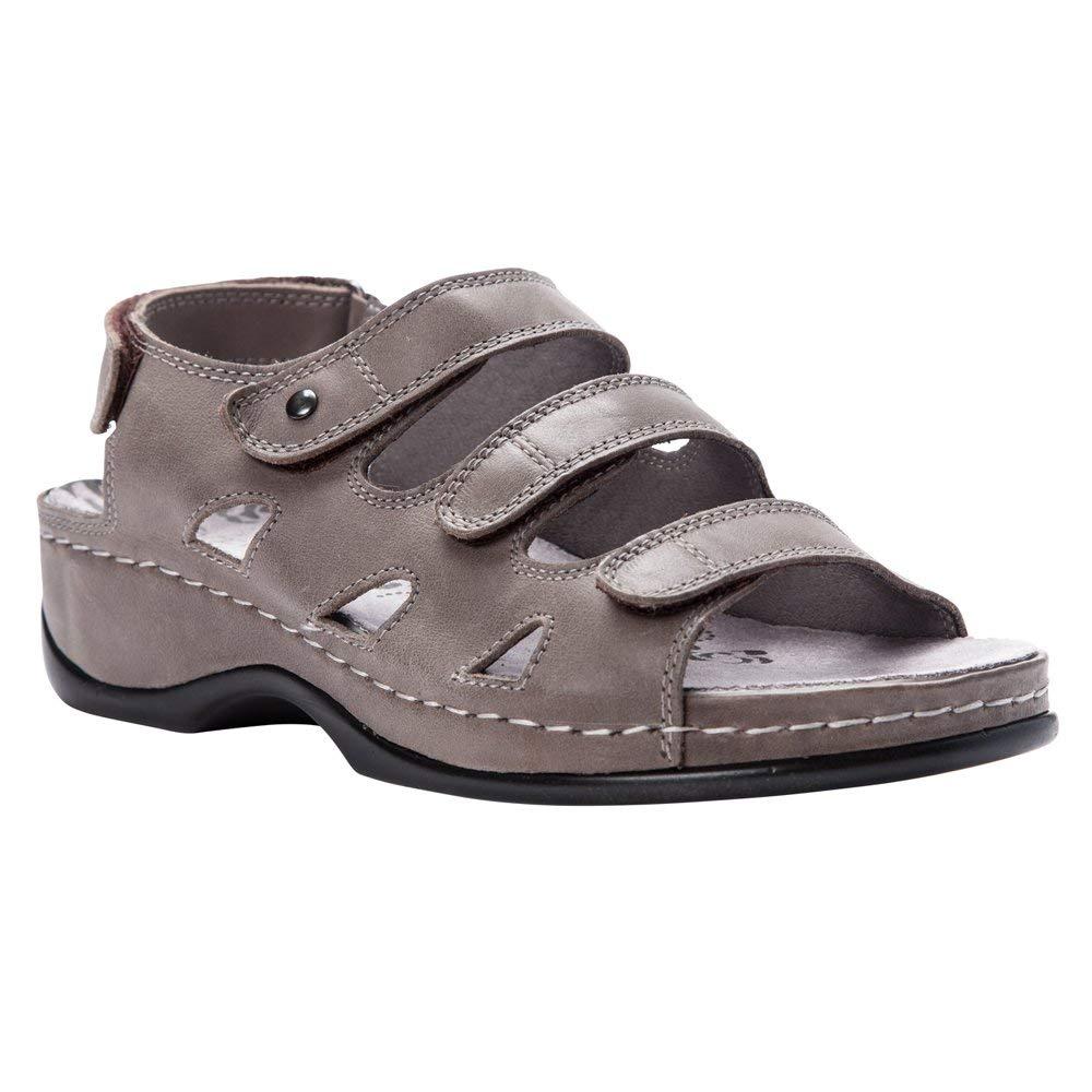 12c18ce13a3 Amazon.com | Propet Womens Kara Casual Sandals Grey | Flats