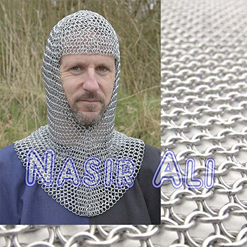 Nasir Ali Halloween Costumes , Halloween Costume Ideas Chain Mail Hooded Scarf Coif 12mm -
