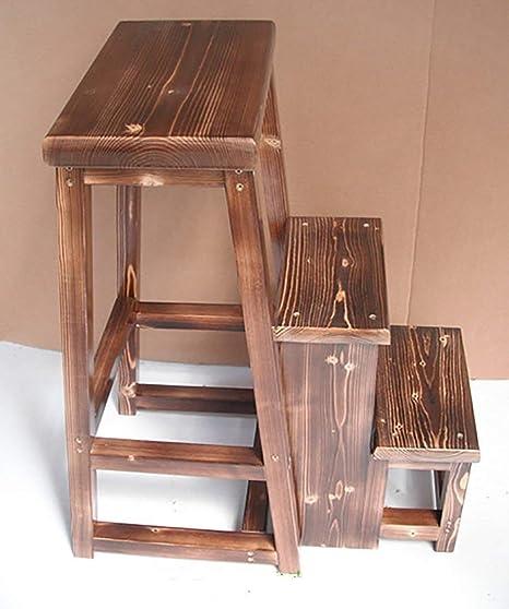 CZWYF 3 Plegable Escalera Plegable multifunción heces Taburete de Paso nórdica Creativo de Madera Maciza Silla escaleras, 4 Colores Opcionales (Color : Carbonized Color): Amazon.es: Hogar