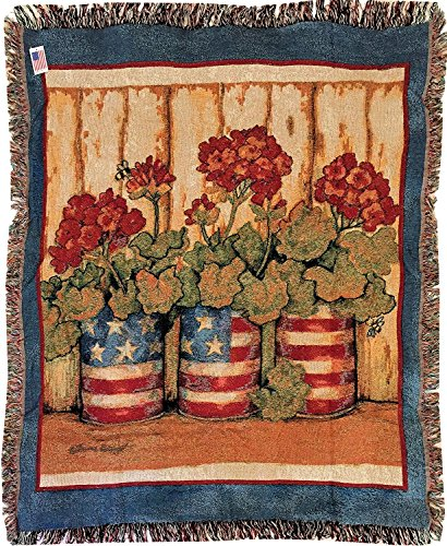 Geranium Flag Cans Fringed Cotton Tapestry Throw Blanket 50x60