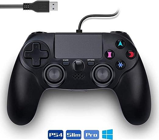 PS4 Controlador de Juegos con Cable Mandos PS4 Gamepad Joysticks de Doble Vibración Controlador con Cable Control para Playstation 4 / PS3 / PC: Amazon.es: Videojuegos