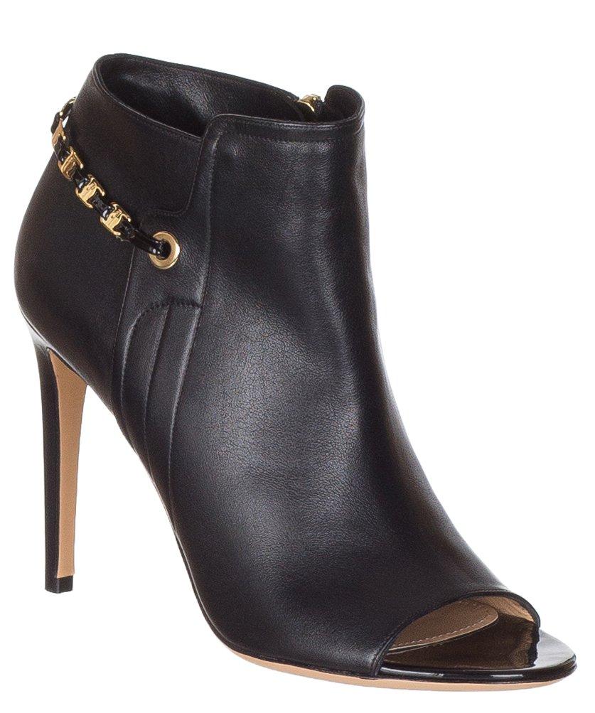 Salvatore Ferragamo Women's Mako Leather Chain Trimmed Peep Toe Ankle Boots Shoes B075K4MNHZ 9 M US|Black