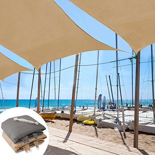 Tarp Case - casa pura Sun Shade Sail | Shade Cloth, Protect Against UV | Sun Shades for Patio and Garden | Rectangle | Multiple Sizes | Beige - 8' x 10'