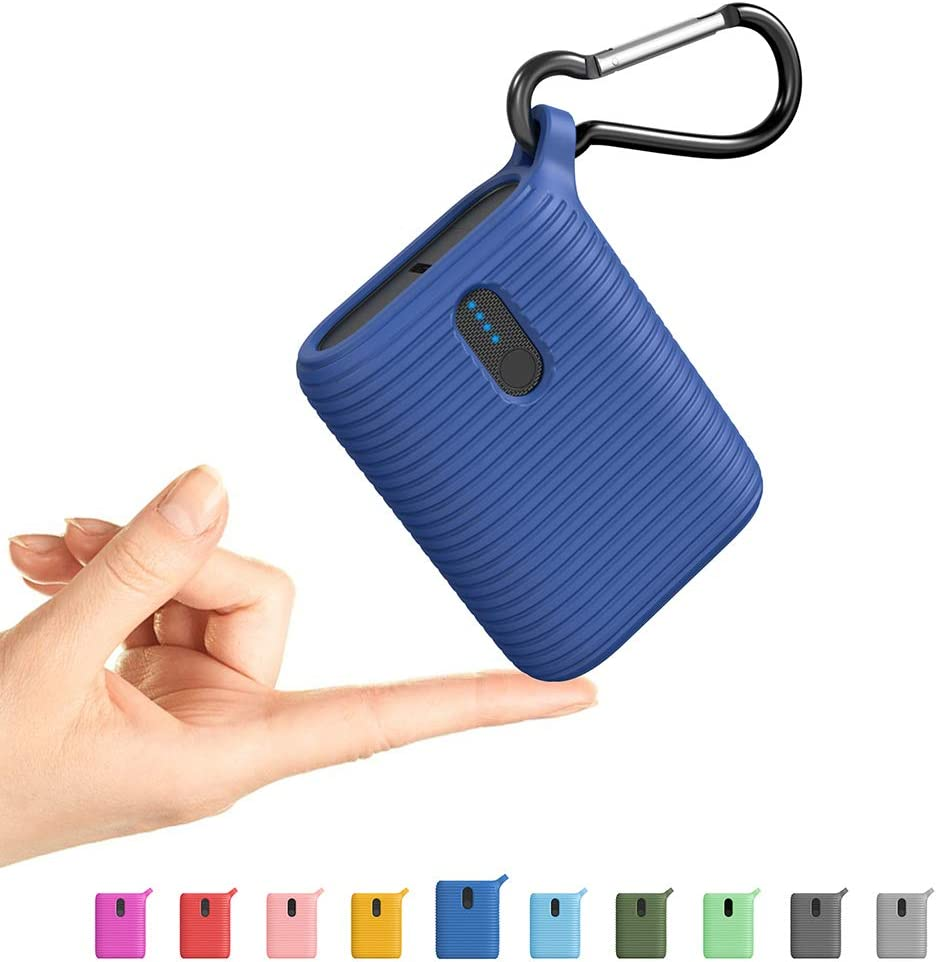 OUTXE Mini Power Bank 10000mAh, Small Portable Charger Lightweight with Dual Output Ports, Cute Ultra Compact USB-C External Battery for iPhone, Samsung and More (Classic Blue)