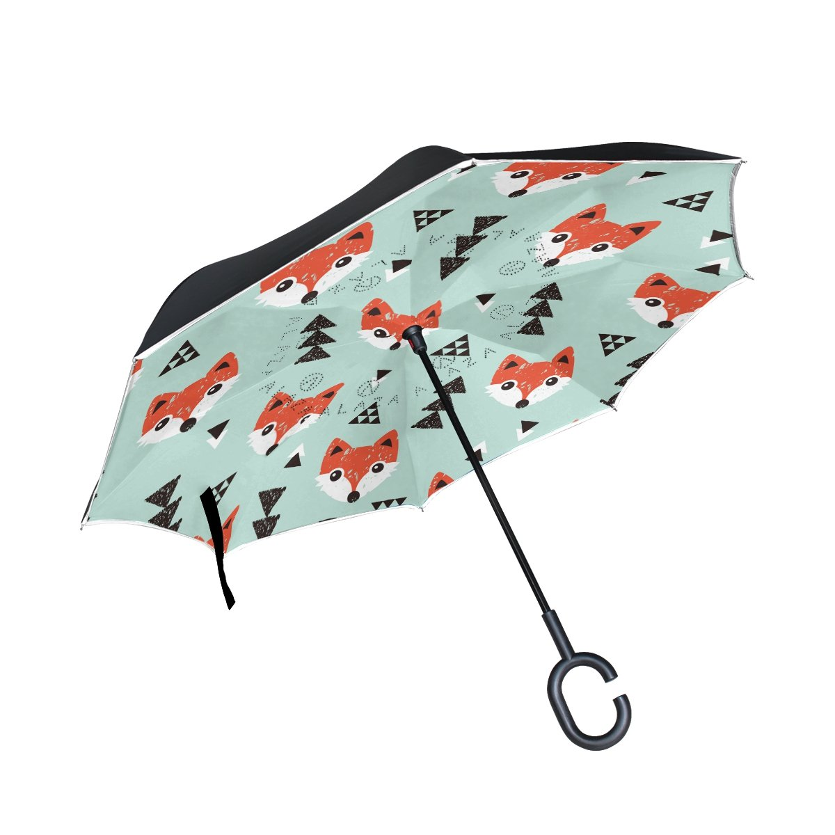 picture regarding Umbrella Pattern Printable named : Lovely Cartoon Fox Habit Print Inverted Double