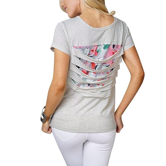 Causal Hacia Fuera Estampado Floral Camiseta Mujeres Ahueca 4AcLqSR3j5