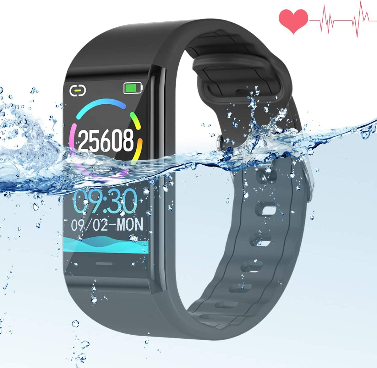 Pulsera de Actividad Inteligente,Impermeable IP68 Reloj Inteligente con Pulsómetro y Tensiómetro para Android iOS Xiaomi Huawei iPhone
