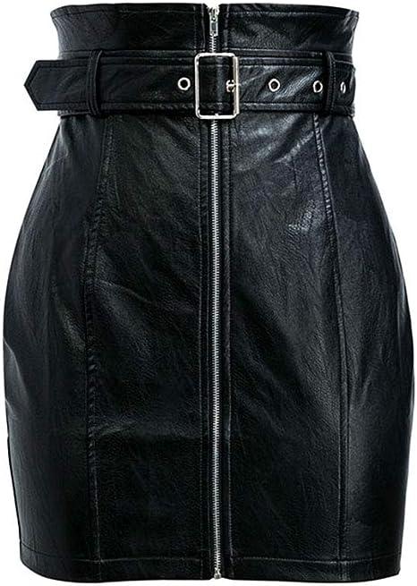 QBXDQ Falda Corta Cintura Alta PU Cuero Faldas Mujeres Sash ...